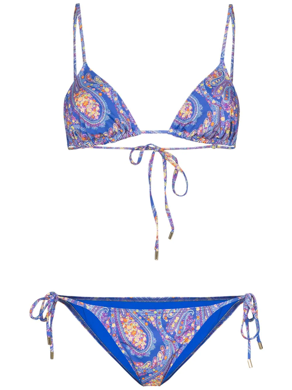 Etro Paisley Print Two-piece Swimsuit In Blue