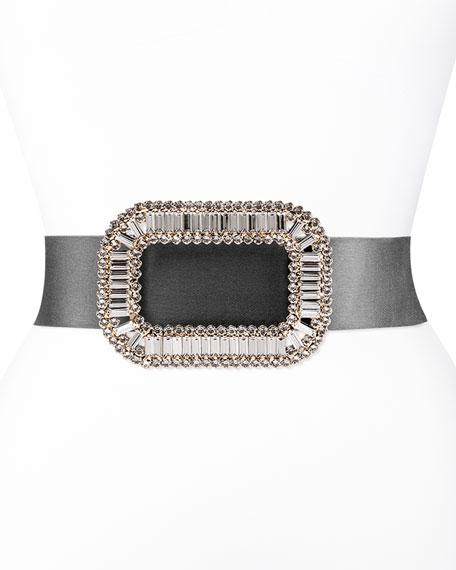 Roger Vivier Pilgrim Crystal-Buckle Belt, Black/Clear