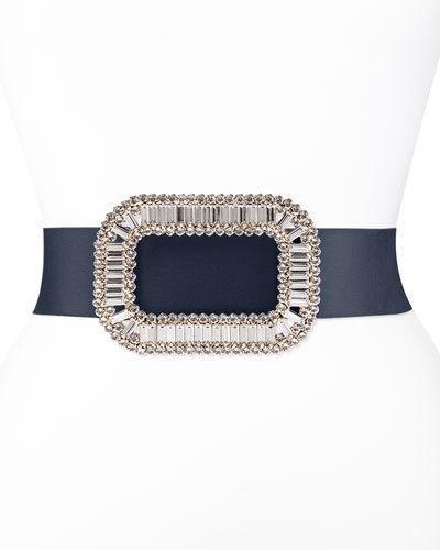 Roger Vivier Pilgrim Crystal-Buckle Belt, Navy
