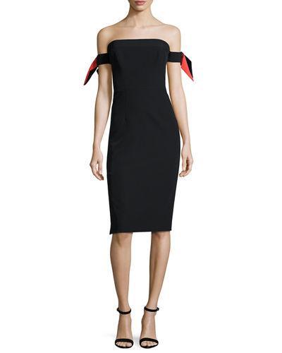 Milly Strapless Bow-Sleeve Italian Cady Midi Dress, Multi In Black