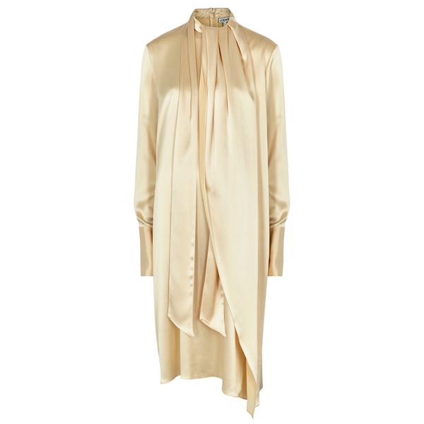 Loewe Lavalliere Ivory Satin Midi Dress