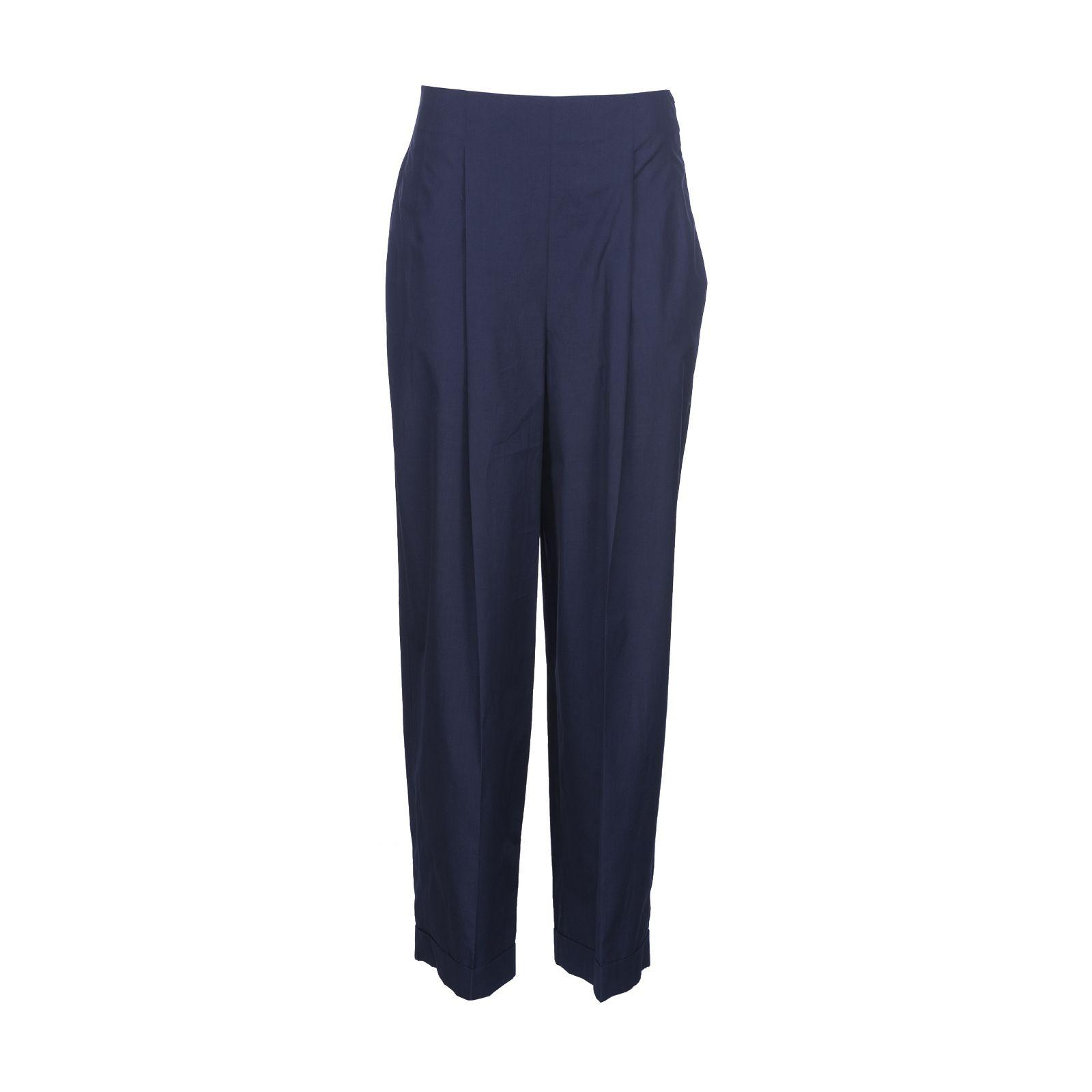Salvatore Ferragamo Cropped Trousers In Navy