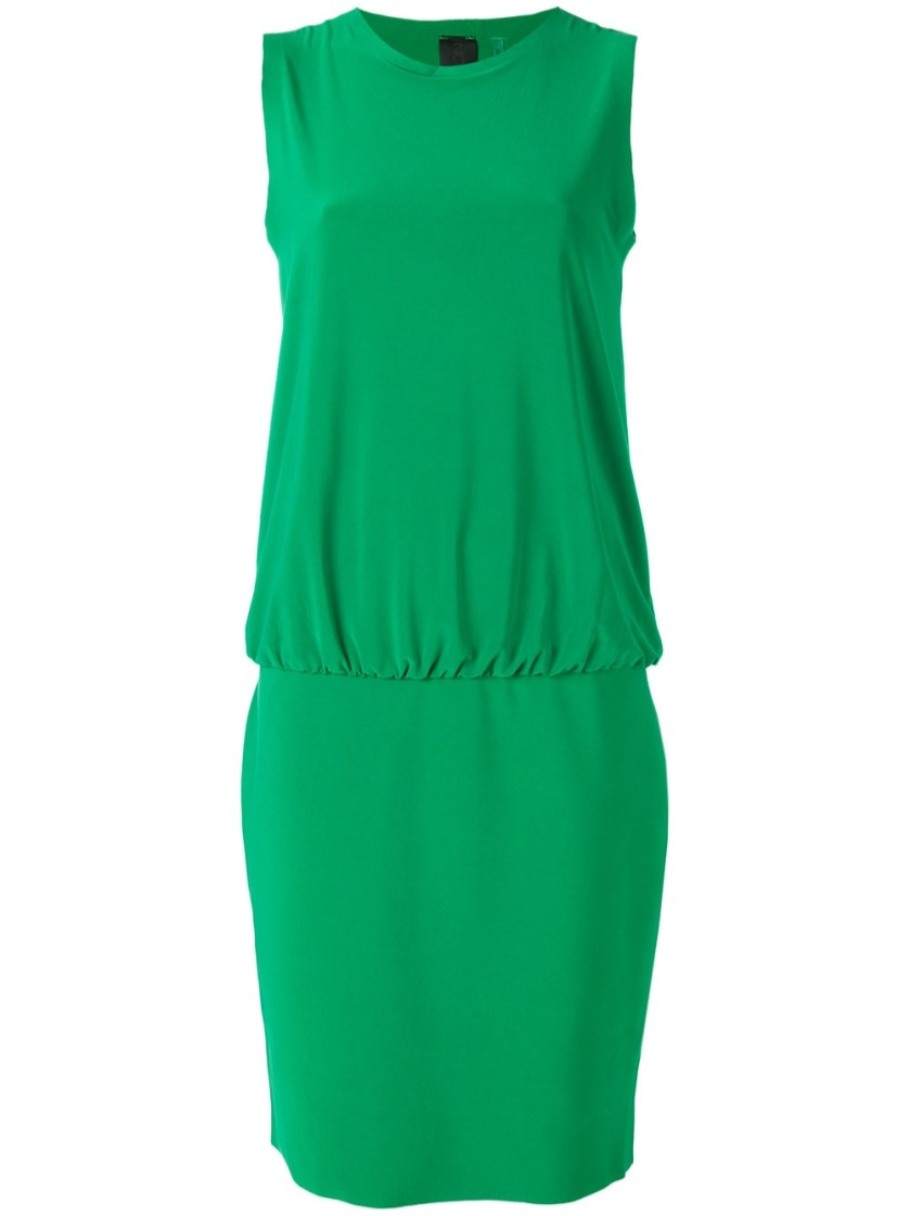 Norma Kamali Drop Waist Shift Dress In Green