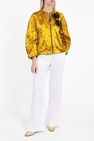 Roksanda Embellished Metallic Jacket With Cotton In Gold