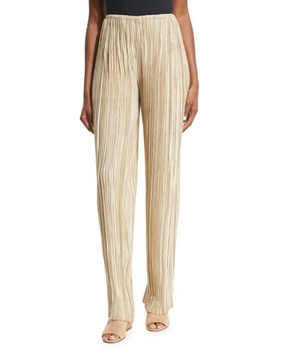 The Row Zani Pleated Silk Pants, Beige