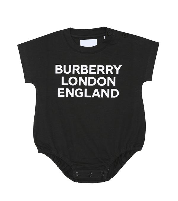 Burberry Babies' Berta Logo Organic Cotton Bodysuit In Black