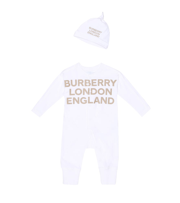 Burberry Unisex Cleo Footie & Hat Gift Set - Baby In White