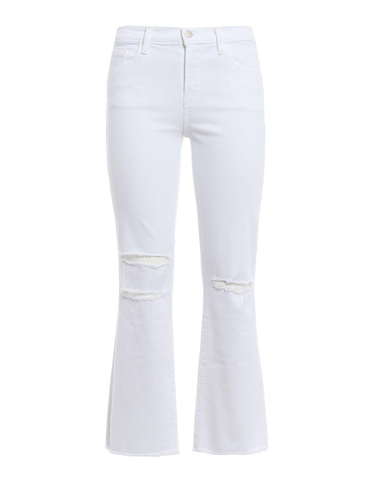 J Brand Selena Ripped Jeans In White