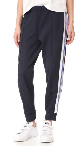 Etre Cecile Stripe Rib Cropped Track Pants In Dark Navy
