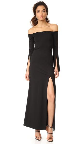 Alexis Katana Off-The-Shoulder Slit Maxi Dress, Black