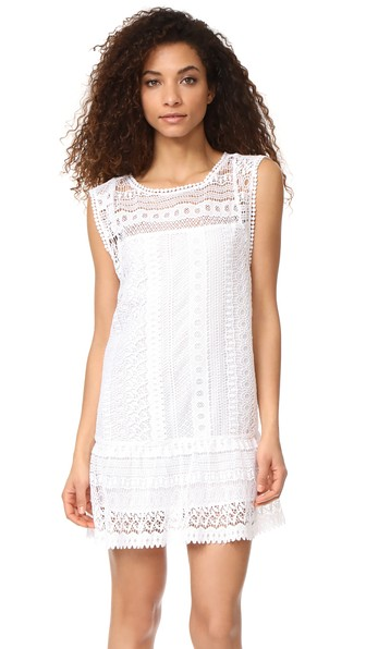 Bb Dakota Milo Crochet Lace Dress In Optic White