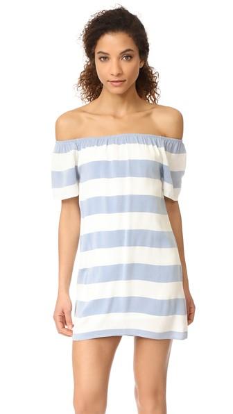 Bb Dakota Kash Off The Shoulder Striped Dress In Ivory