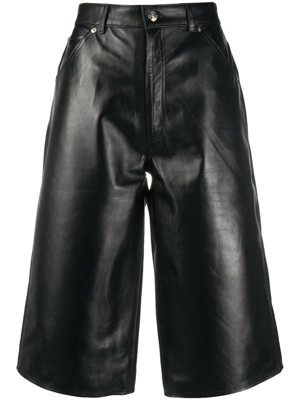 Manokhi Leather Knee-length Shorts In Black
