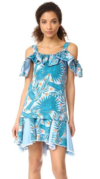 Sjyp Hawaiian Print Denim Dress In Denim Blue