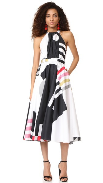 Milly Nautical Abstract Print Lizzy Dress In Multi