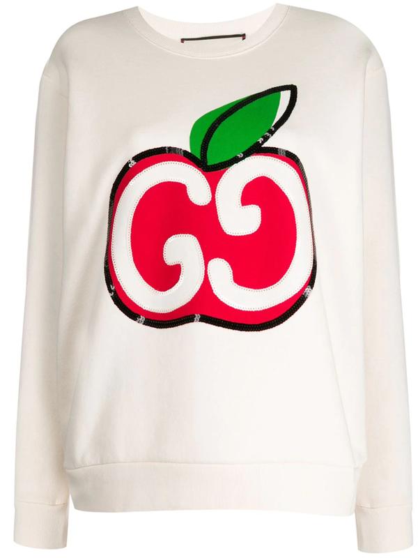 Gucci Cotton Jersey Sweatshirt In Neutrals