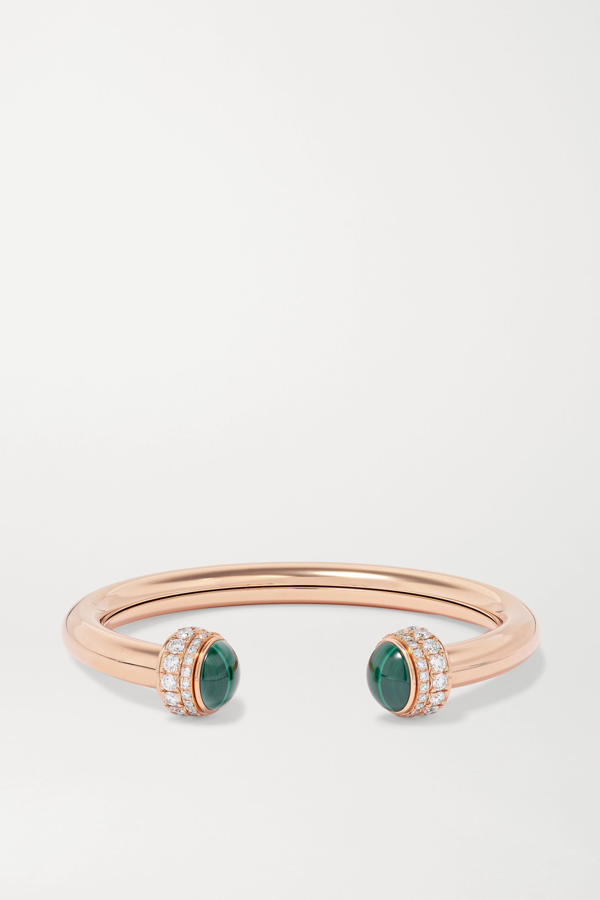 Piaget Possession 18-karat Rose Gold, Diamond And Malachite Cuff