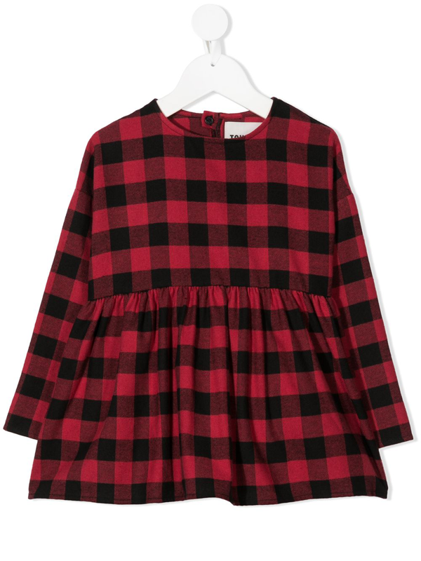 Touriste Kids' Check Flared Top In Red