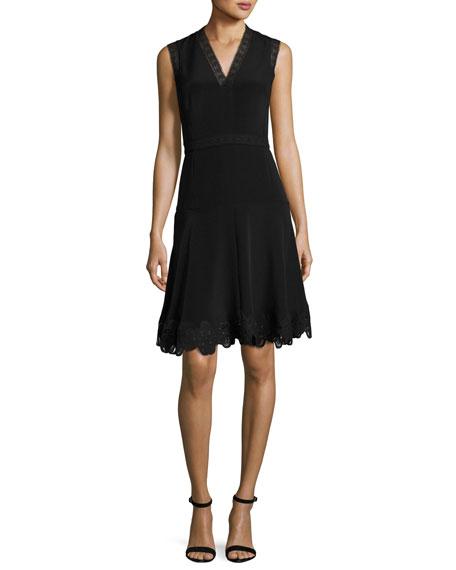Kobi Halperin Adena Sleeveless Lace-Trim A-Line Dress In Black