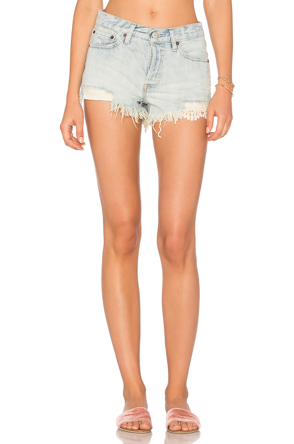 Free People Daisy Chain Lace Short In Light Denim