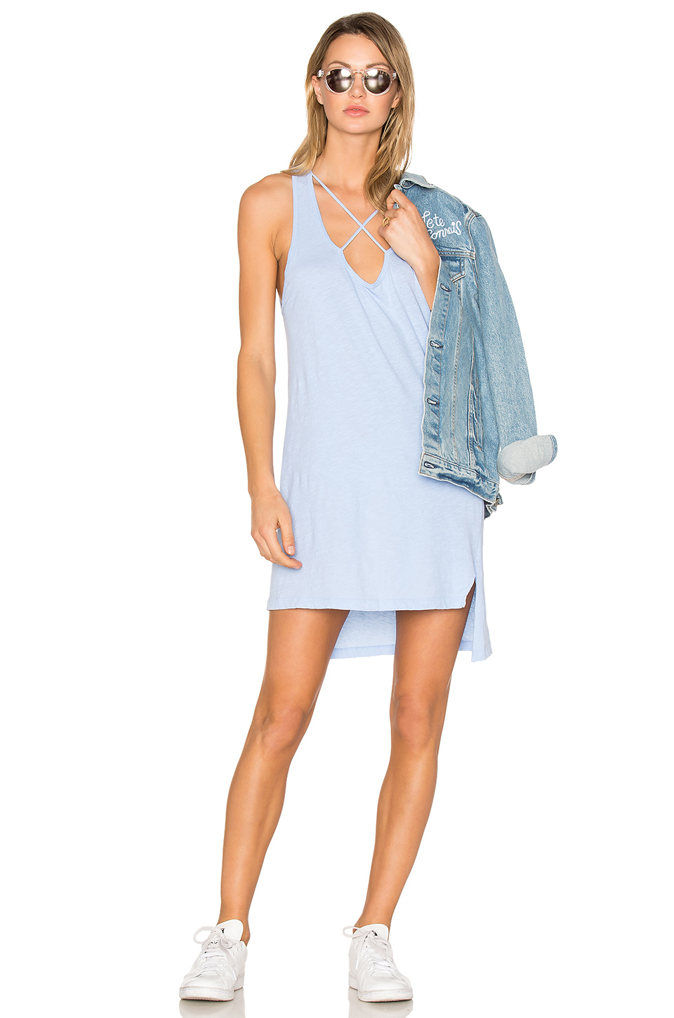 Lna Cross Strap Tank Dress In Baby Blue