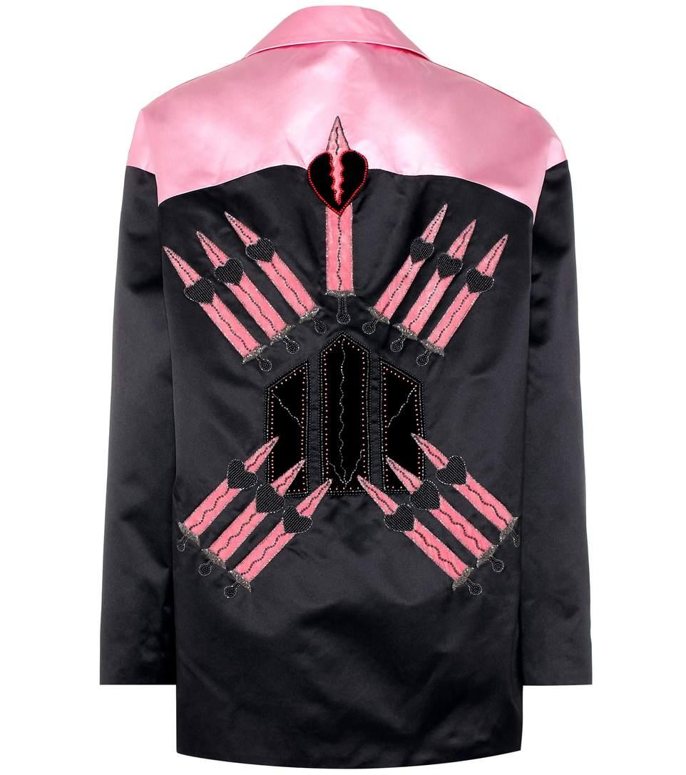 Valentino Loveblade Silk Jacket In Black