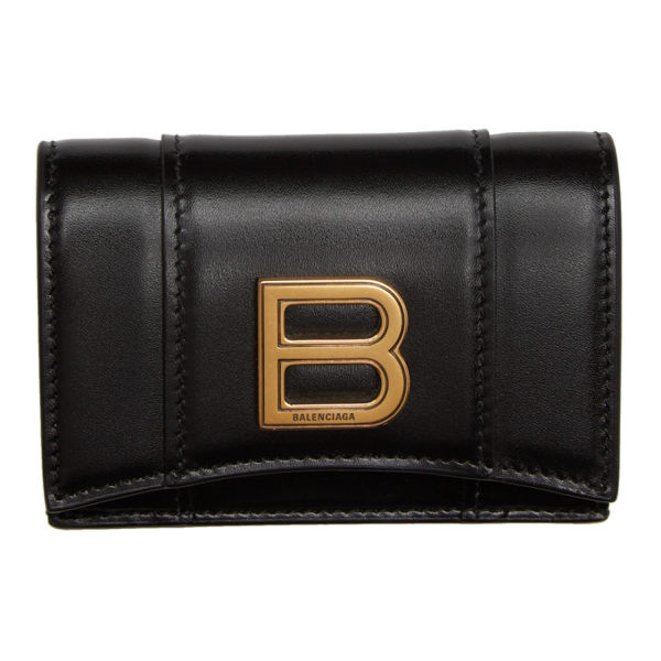 Balenciaga Logo Plaque Hourglass Wallet In 1000 Black