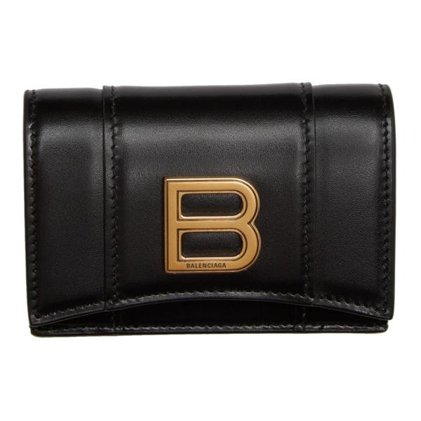 Balenciaga Logo Plaque Hourglass Wallet In 1000 Black
