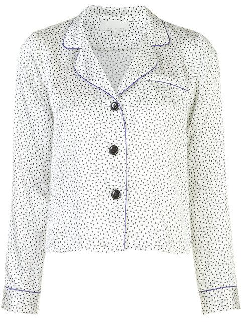 Fleur Du Mal Dot-Print Silk Pajama Shirt In Black