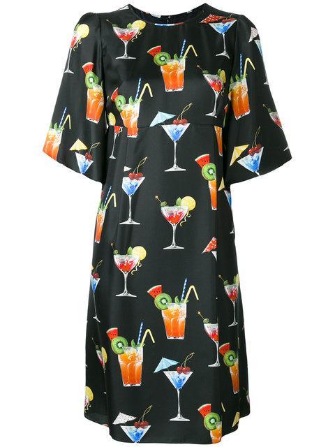 Dolce & Gabbana Cocktail Print Shift Dress In Driek Fdo. Eero