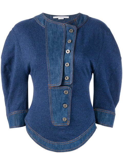 Stella Mccartney Denim Button Front Jumper In Blue