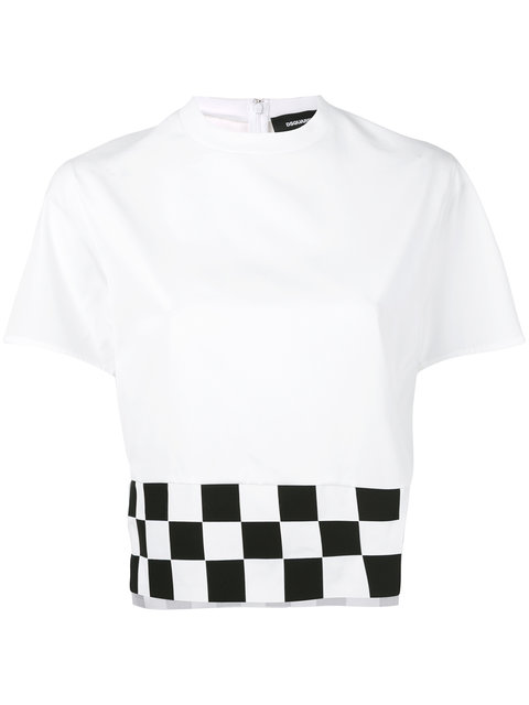 Dsquared2 Checkboard Cropped T-Shirt
