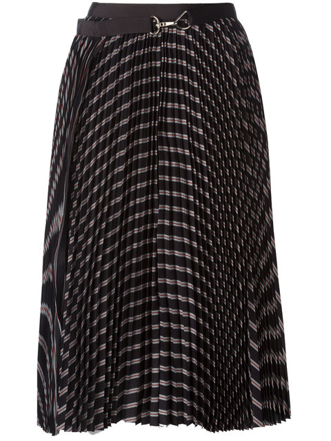 Sacai Pleated Striped Twill Wrap Skirt In Black
