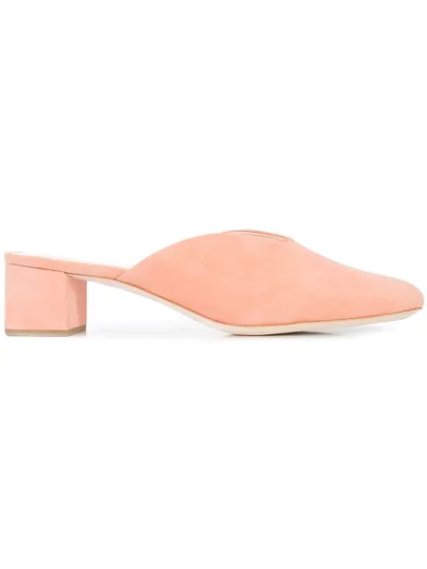 Loeffler Randall Lulu Suede Block-Heel Mule Slide In Pink & Purple