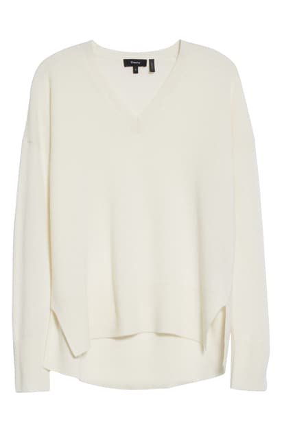 Theory Women's Karenia V-neck Cashmere Sweater In Ivory