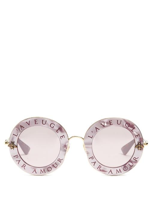 bf273b713fb Gucci L Aveugle Par Amour Metal Sunglasses In Pink Multi