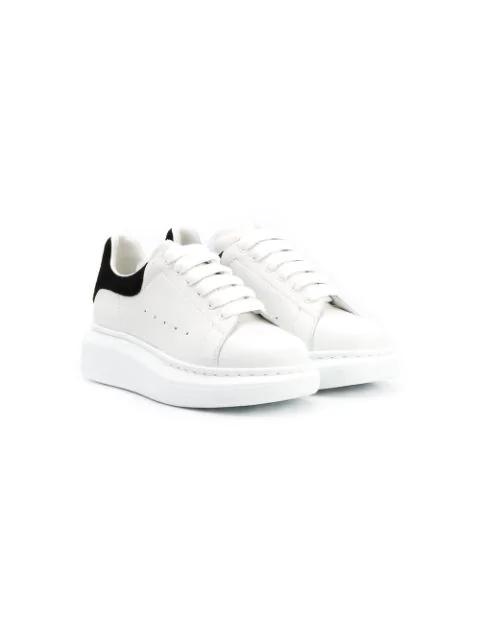 Alexander Mcqueen Kids' Contrast Heel Counter Leather Trainers In White