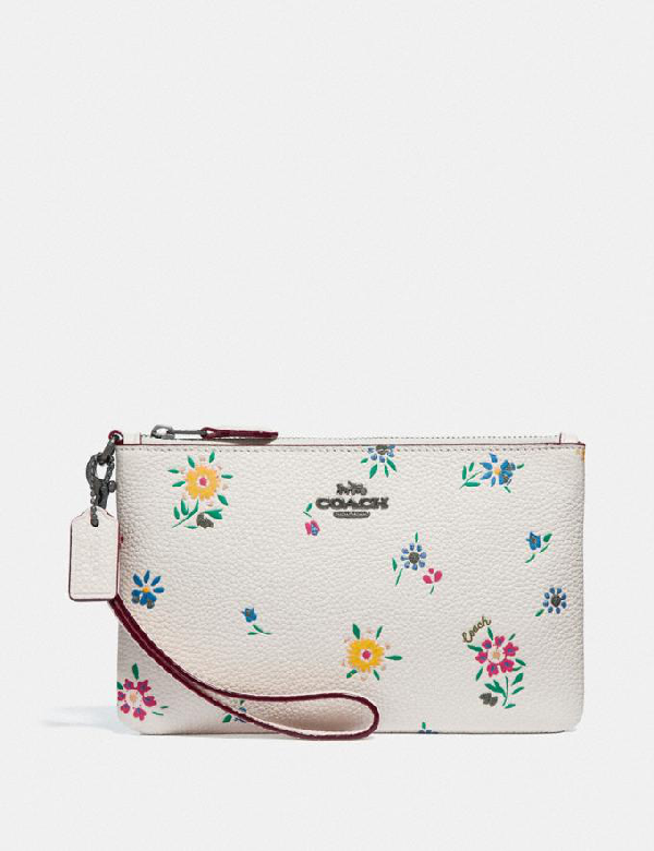 Coach Small Wristlet With Wildflower Print - Women's In Pewter/chalk