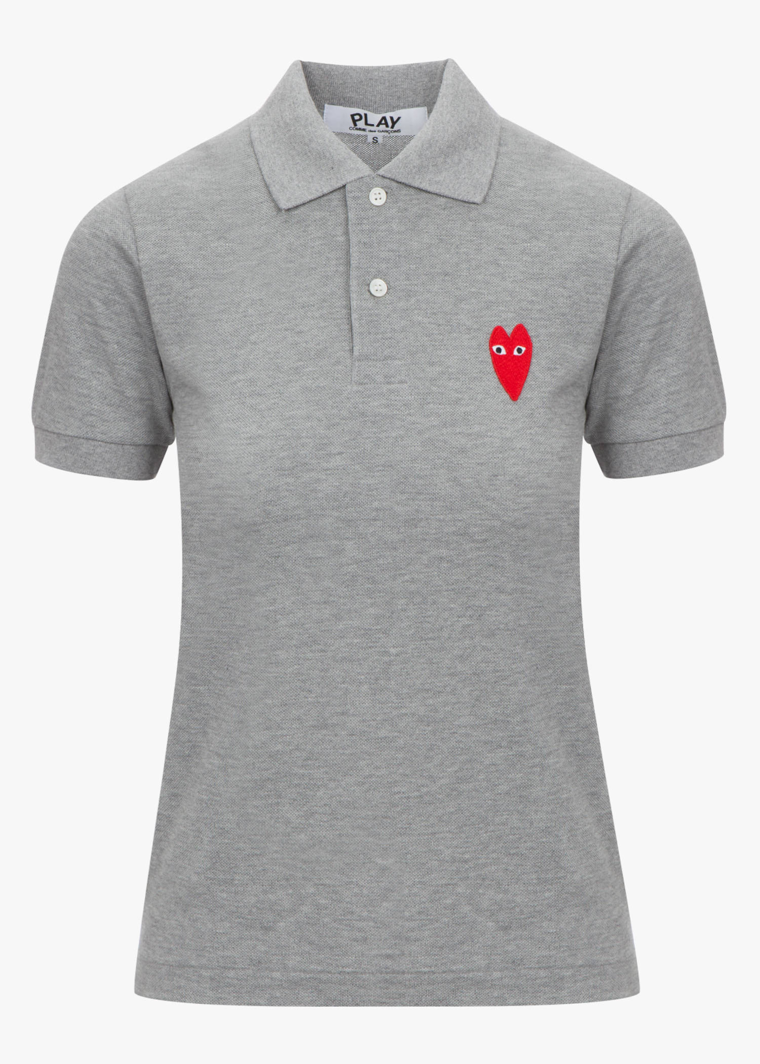 Comme Des GarÇOns Play Narrow Red Heart Patch Polo Shirt In Grey
