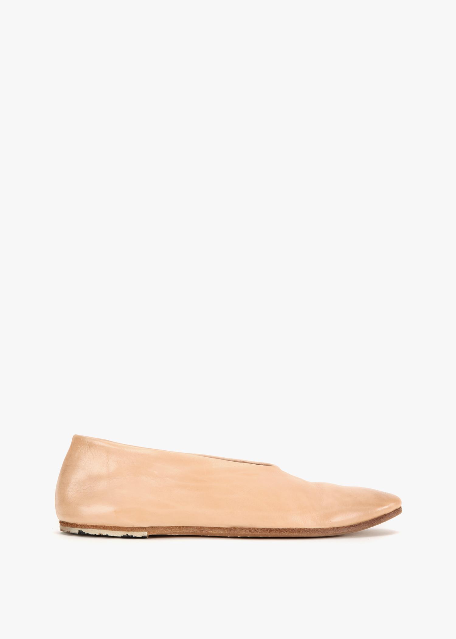 MarsÈLl Leather Flats In Dark Beige
