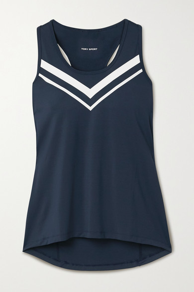 Tory Sport Performance Printed Stretch-jersey Tank In Navy