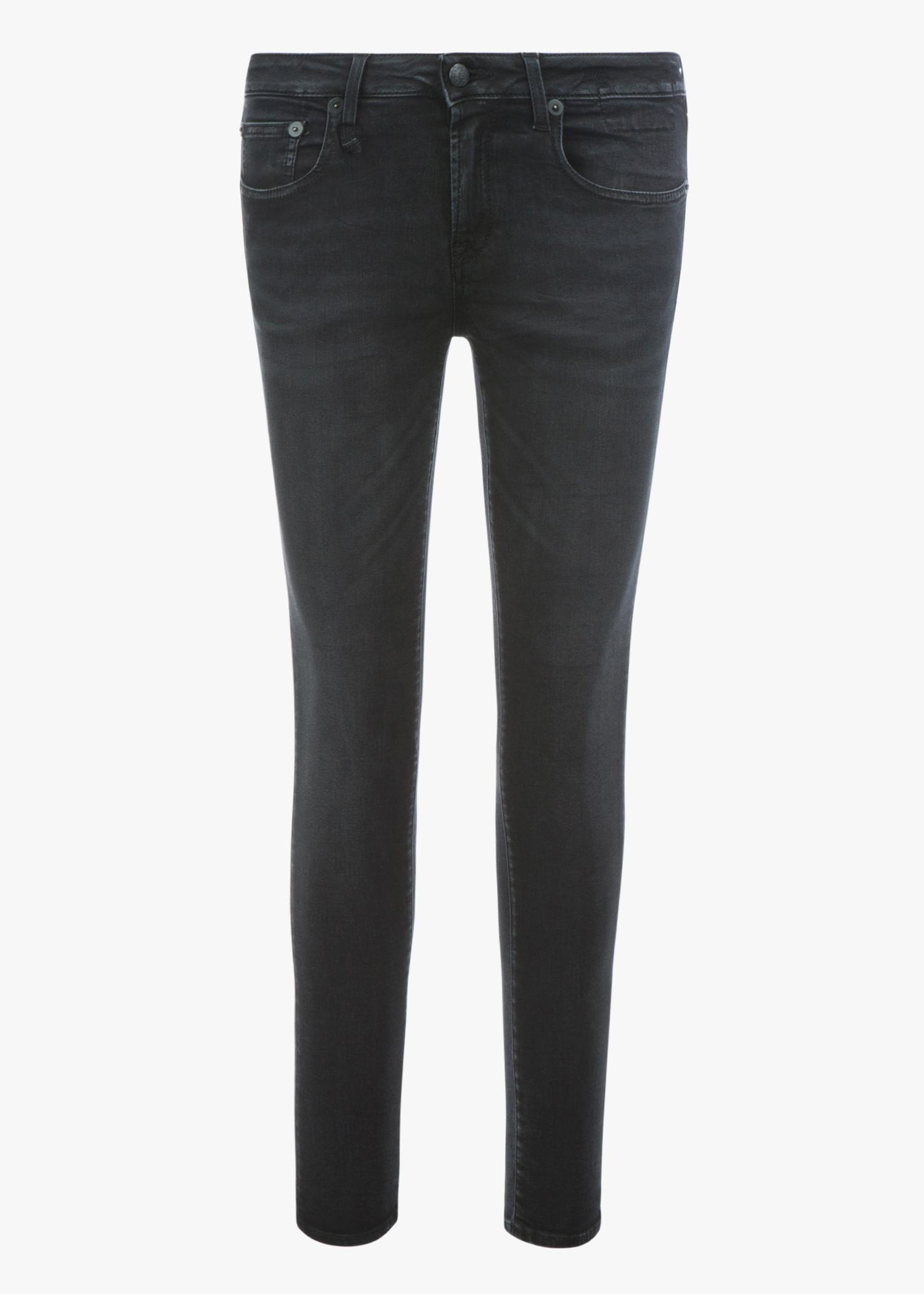 R13 Kate Skinny Jeans In Dark Moon With Angled Hem