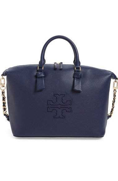 8af02165aae9 Tory Burch Harper Slouchy Leather Satchel - Blue In Royal Navy ...