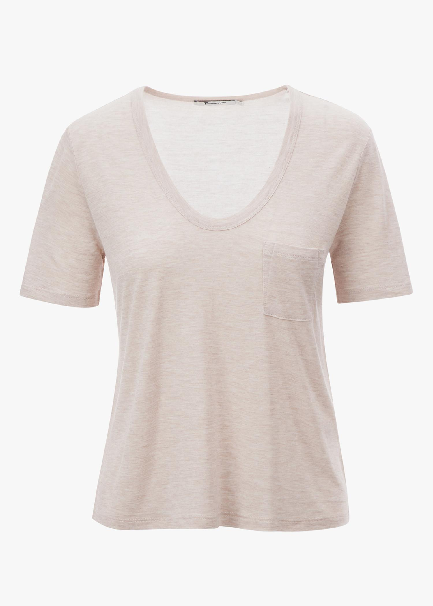 T By Alexander Wang Short Sleeve Cropped Pocket Tee In Blush
