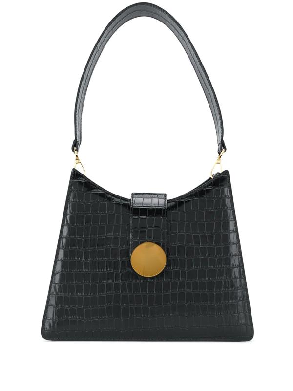 Elleme Crocodile Effect Shoulder Bag In Black
