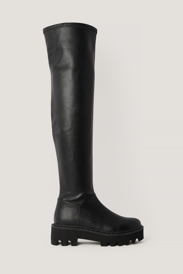 Na-kd Thigh High Profile Sole Boots - Black