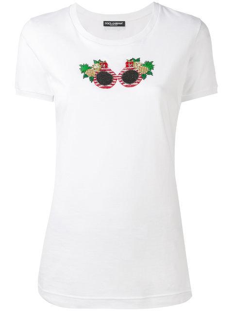 Dolce & Gabbana Embroidered Sunglasses T-Shirt, White, Multi