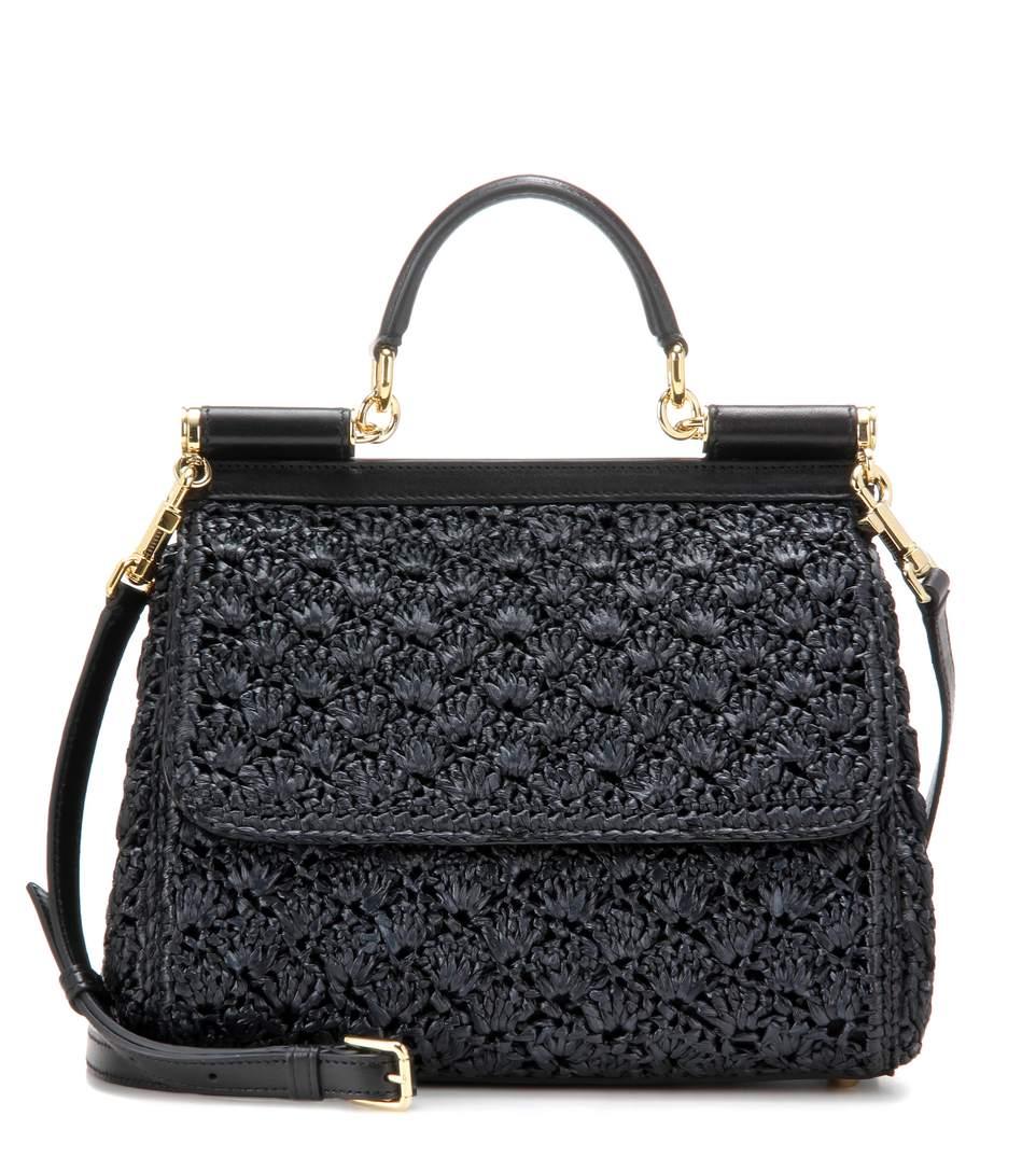 Dolce & Gabbana Sicily Small Raffia Shoulder Bag In Eero