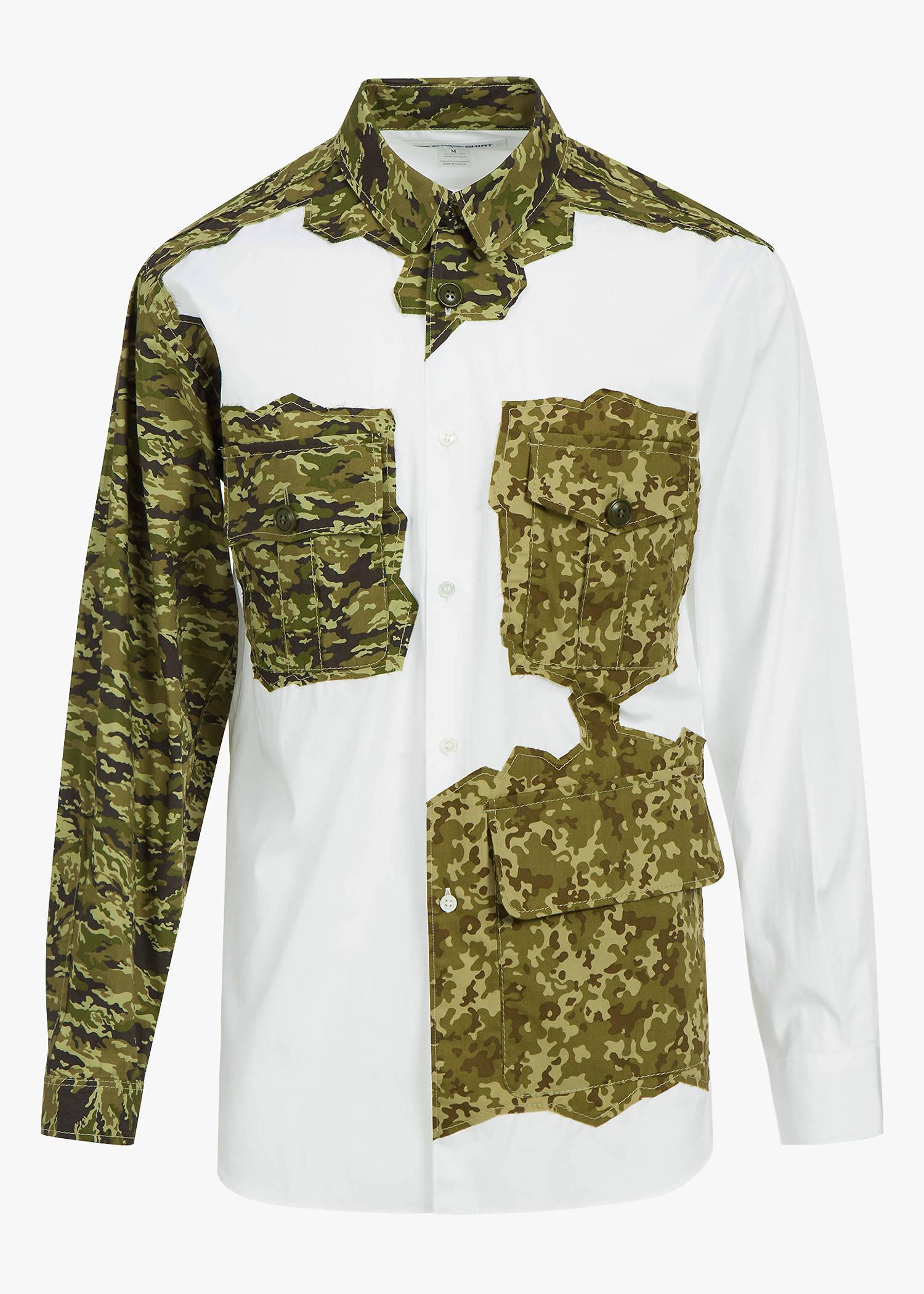 Comme Des GarÇOns Shirt Camo Patch Pocket Shirt In White/Camo