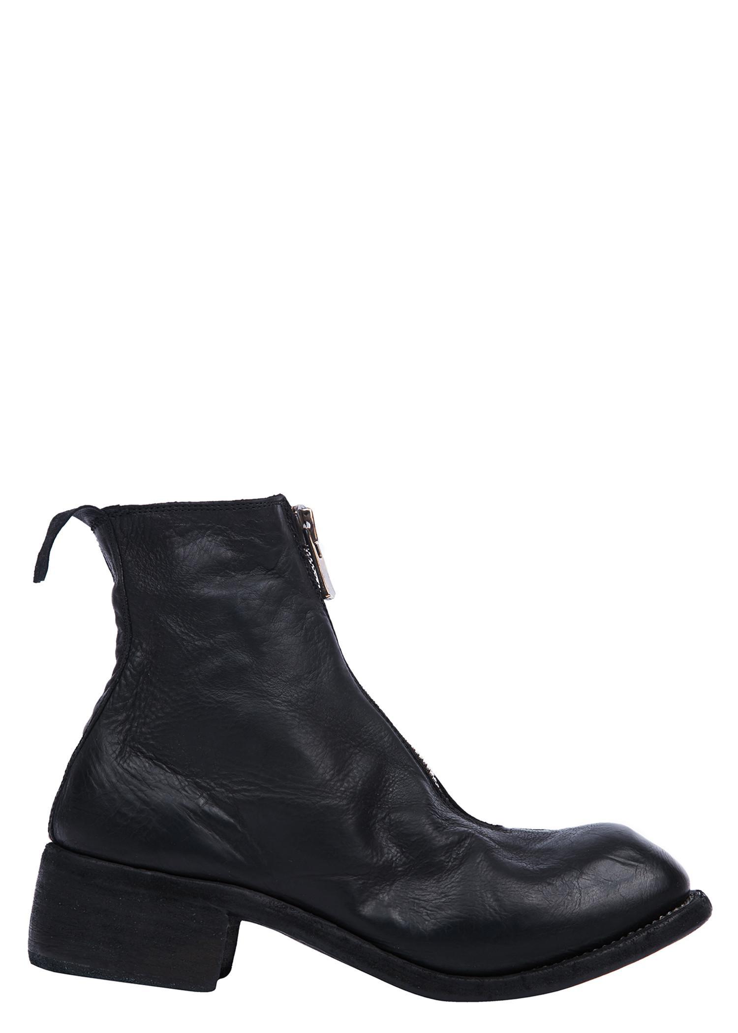 Guidi Baby Calf Full Grain Orthopaedic Front Zip Boots In Black